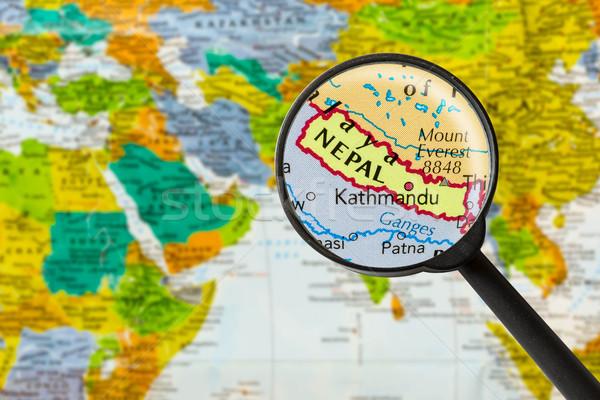 Harita federal demokratik cumhuriyet Nepal Stok fotoğraf © lostation