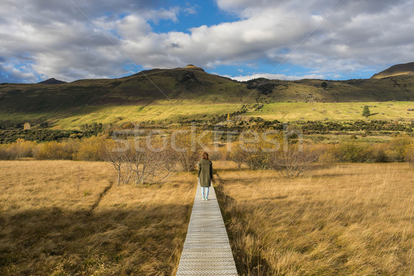 woman walks along boardwalk/path traverses wetlands Stock photo © lostation