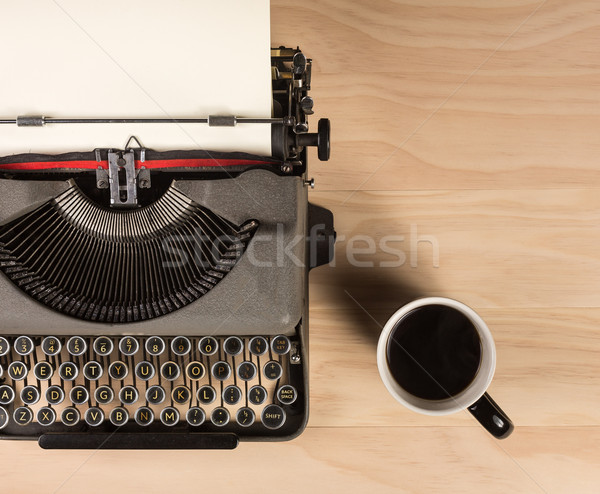 vintage typewriter with a cup of coffee Stock photo © lostation