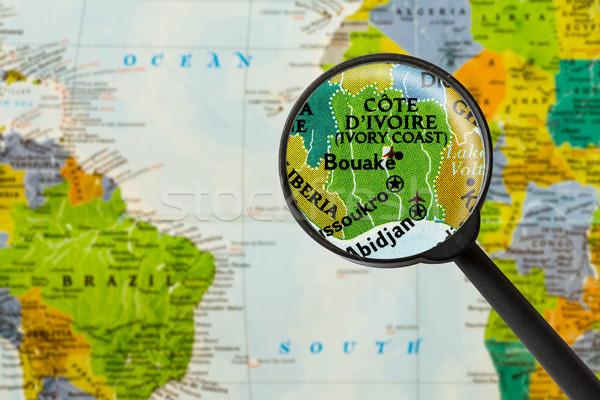 Térkép köztársaság Elefántcsontpart város üveg szín Stock fotó © lostation