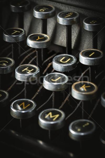 Klucze vintage maszyny do pisania klawiatury czarny Zdjęcia stock © lostation
