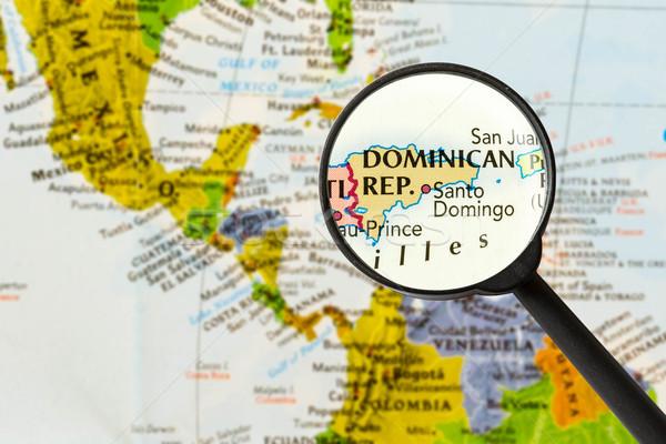 Terkep Dominikai Koztarsasag Nagyito Varos Vilag Uveg