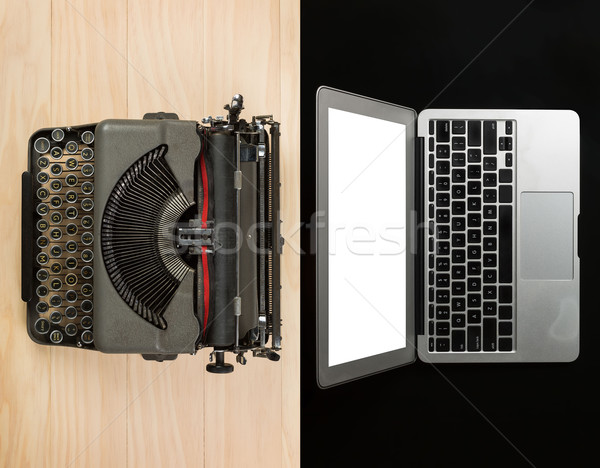 comparison between computer laptop and typewriter Stock photo © lostation