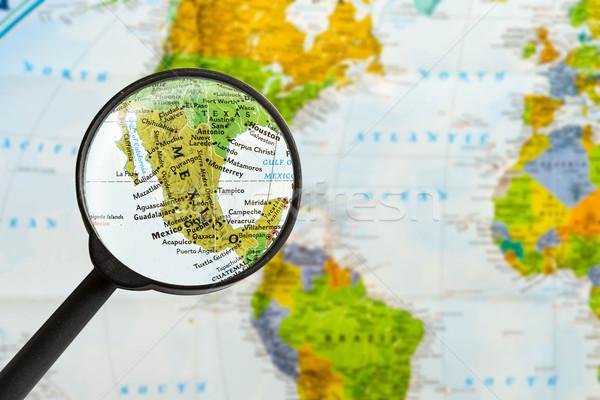 Térkép mexikói nagyító város világ üveg Stock fotó © lostation