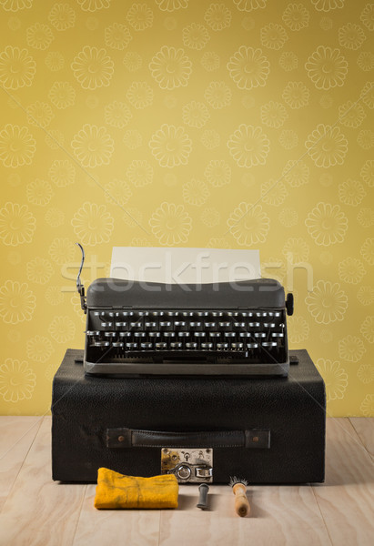 A set of vintage portable typewriter and case Stock photo © lostation