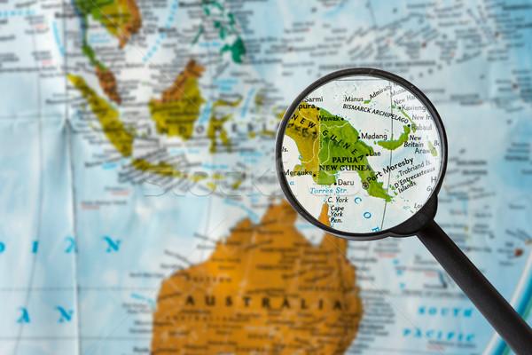 карта Папуа-Новая Гвинея увеличительное стекло Мир стекла фон Сток-фото © lostation