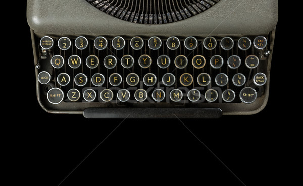 Stock photo: vintage typewriter isolated on black background