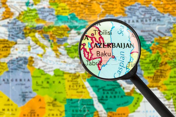 Kaart republiek Azerbeidzjan vergrootglas Blauw witte Stockfoto © lostation