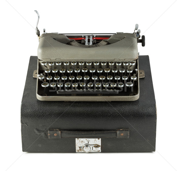 Vintage typewriter with case isolated on white background Stock photo © lostation
