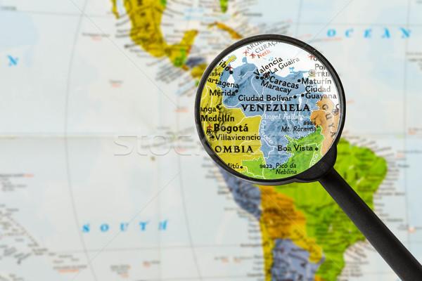 Térkép köztársaság Venezuela nagyító város üveg Stock fotó © lostation