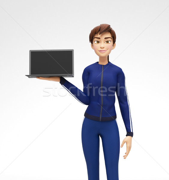 Laptop Mockup With Blank Screen Held by Smiling and Happy Jenny Stock photo © Loud-Mango