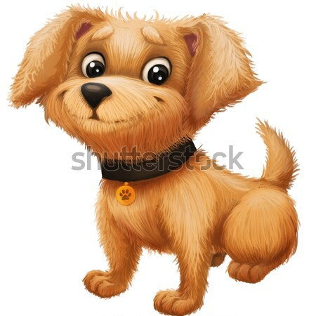 Cute Little Furry Puppy - Cartoon Animal Character Mascot Concerned and Scared Stock photo © Loud-Mango