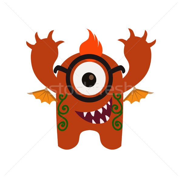 Cute and Funny Monster Avatar - Animated Cartoon Character in Flat Vector Stock photo © Loud-Mango