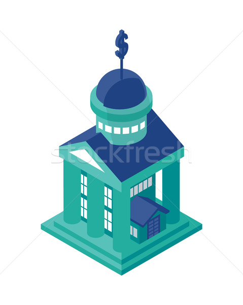 Isometric Bank Building Object or Icon - Element for Web, Tileset Map, Game Stock photo © Loud-Mango