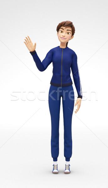 Memnun gülen 3D karikatür kadın karakter Stok fotoğraf © Loud-Mango