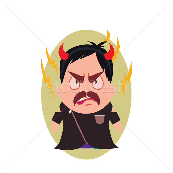 Villain Devil Frowning Avatar of Little Person Cartoon Character in Flat Vector Stock photo © Loud-Mango