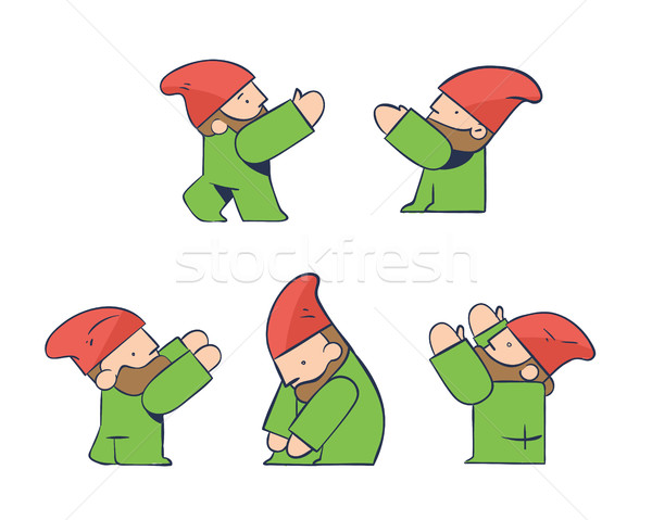 Construction Worker Architect Gnome, Builders Project Teamwork, Isolated Icons Stock photo © Loud-Mango