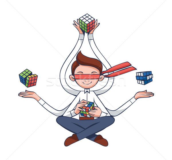 Problem Solving, Meditation, Yoga Concept  - IT Professional in Flat Vector Stock photo © Loud-Mango