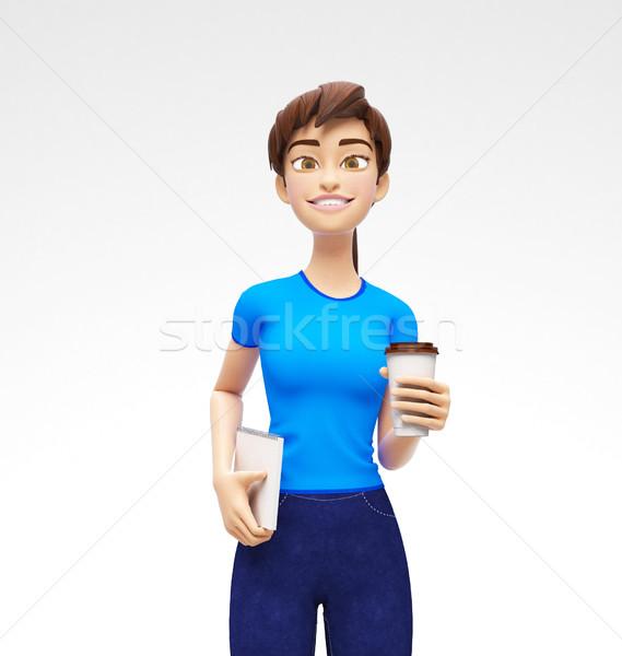 Kávé teáscsésze vázlat mosolyog boldog 3D Stock fotó © Loud-Mango