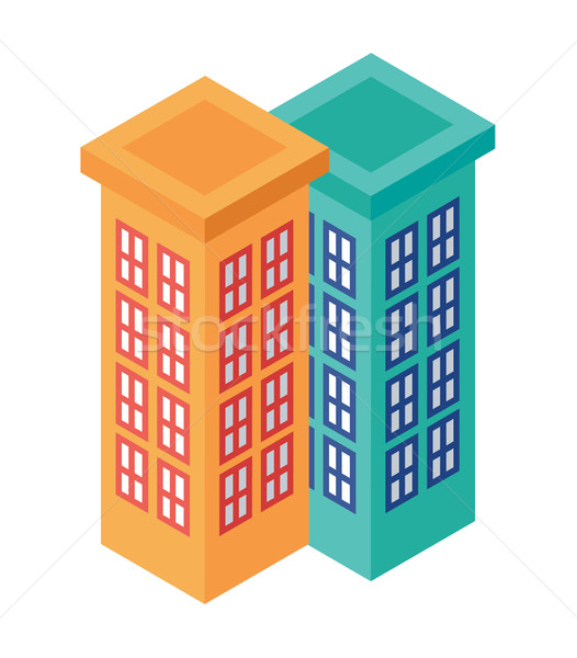 Isometric Set of Adjacent Tall Buildings - Element for Web, Tileset Map, Game Stock photo © Loud-Mango