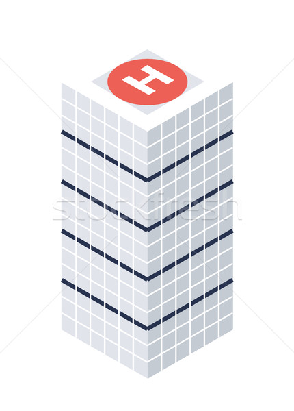 Isometric Skyscraper with Helipad Building Icon, Web Element, Tileset Map, Game Stock photo © Loud-Mango