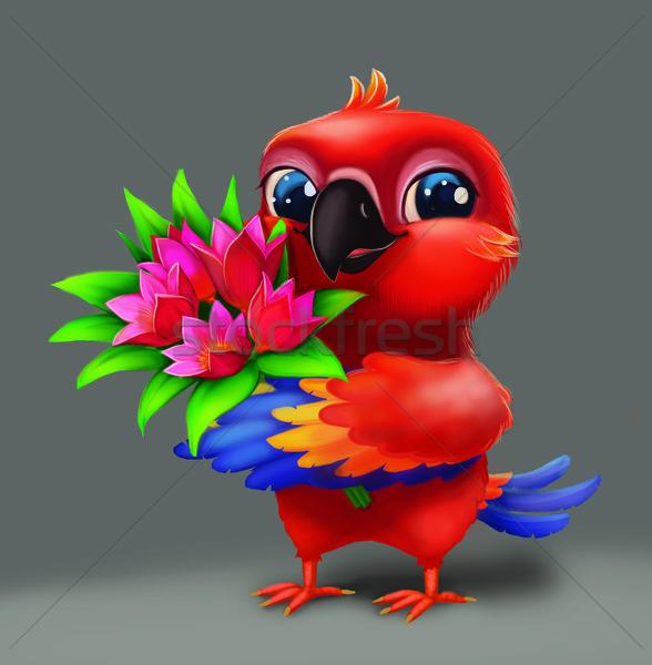 Cute papuga kwiaty miłości szczęśliwy Zdjęcia stock © Loud-Mango