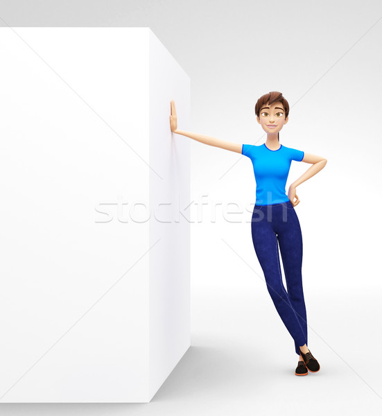 Blank Box and Product Staging Board Mockup with Smiling and Happy 3D Character Stock photo © Loud-Mango