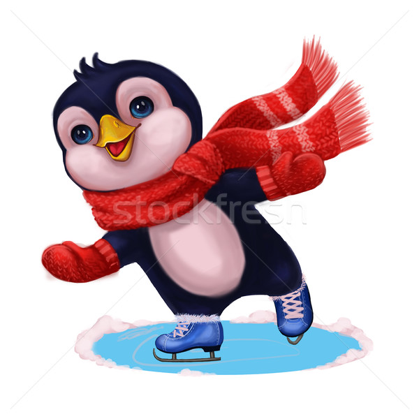 Season's Greetings with Penguin Ice Skating - Merry Christmas and Happy New Year Stock photo © Loud-Mango
