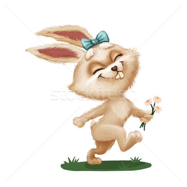Happy Cute Furry Bunny with Flower - Cartoon Animal Character Running Across Green Field - Hand-Draw Stock photo © Loud-Mango