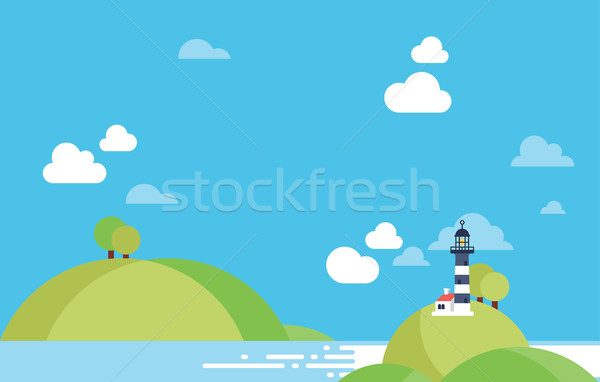 Beach Landscape with Lighhouse Vector in Material Design Background,  Copyspace Stock photo © Loud-Mango