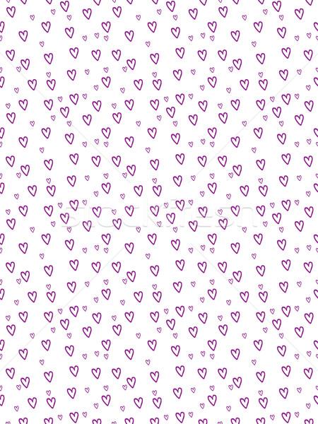 Hand-Drawn Hearts Seamless Background in Purple - Cartoon Vector Elements Stock photo © Loud-Mango