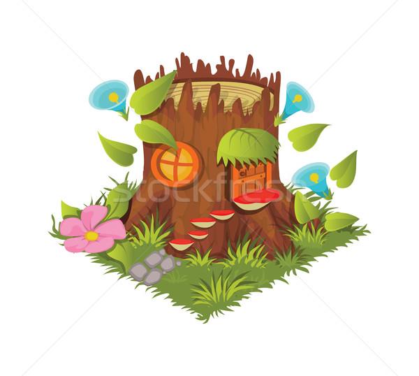 Isometric Cartoon Fantasy Tree Stump Village House - Element for Tileset Map Stock photo © Loud-Mango