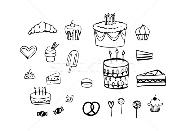 Set of Birthday Cakes, Candy and Pastry in Vector Icon Silhouettes Stock photo © Loud-Mango