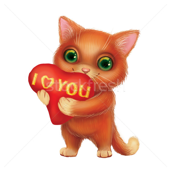 Cute Smiling Kitten Holding Heart Sign with I Love You Confession of Feelings Stock photo © Loud-Mango