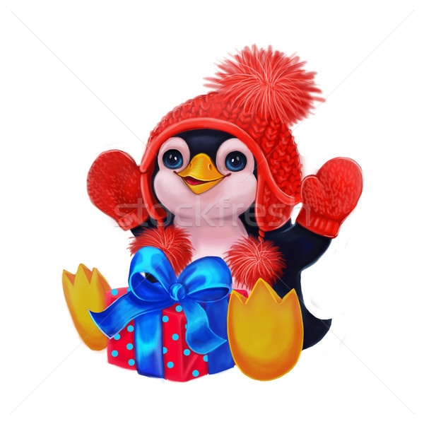 Happy Holidays with Penguin Celebrating Birthday Party, Christmas with Presents Stock photo © Loud-Mango