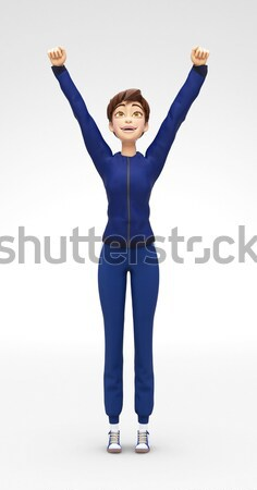 Smiling, Successful Jenny - 3D Cartoon Female Character Sports Model Winner Stock photo © Loud-Mango