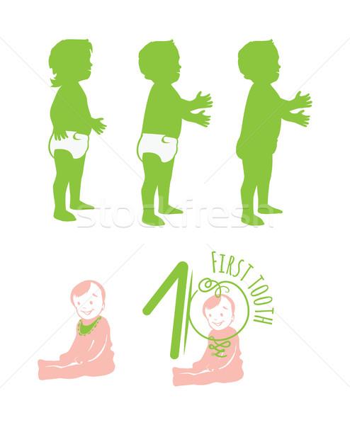 Gülen bebek yürüyüş bo minimalist Stok fotoğraf © Loud-Mango