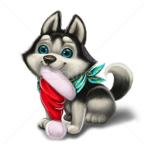 Pory roku husky szczeniak wesoły christmas Zdjęcia stock © Loud-Mango