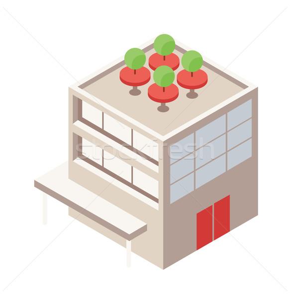 Izometrikus épület tető zöld terasz háló Stock fotó © Loud-Mango