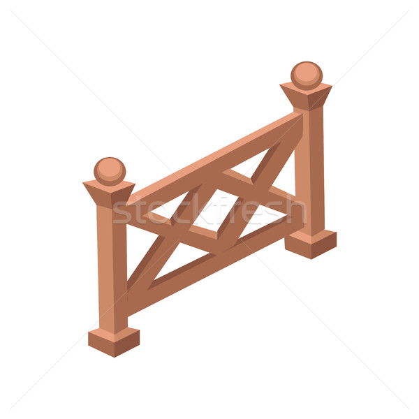 Isometric Cartoon Wooden Fence Gate - Element for Tileset Map, Landscape Design Stock photo © Loud-Mango