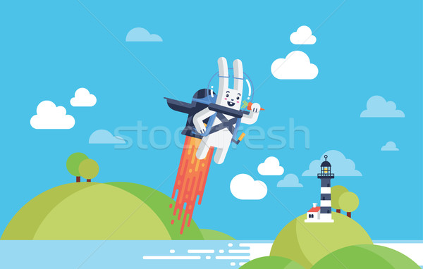 Startup Business, Technology and Innovation Concept with Flying Rocket Rabbit Stock photo © Loud-Mango