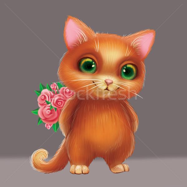 Sevimli gülen kedi yavrusu sevmek Stok fotoğraf © Loud-Mango