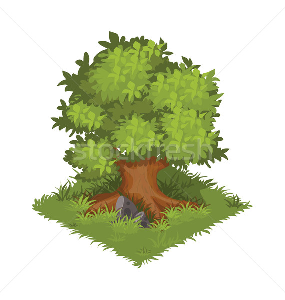 Isometric Cartoon Gigantic Green Oak Tree - Element for Tileset Map or Game Stock photo © Loud-Mango