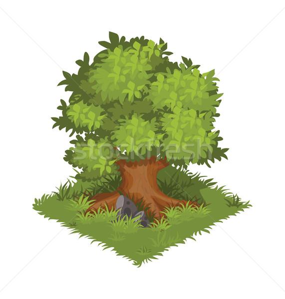 Сток-фото: изометрический · Cartoon · зеленый · дуба · элемент · карта