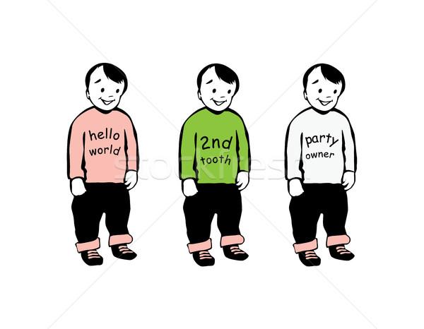 双子 ブラザーズ 文字 アイコン 笑みを浮かべて シルエット ストックフォト © Loud-Mango