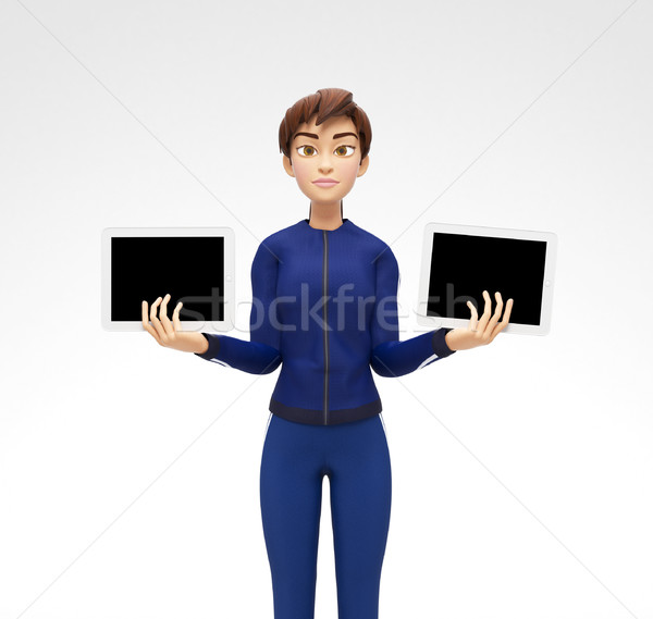 Two Tablet Device Mockups With Blank Screens Held by Serious Jenny Background Stock photo © Loud-Mango