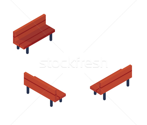 Isometric Park Benches Object or Icon - Element for Web, Tileset Map, or Game Stock photo © Loud-Mango