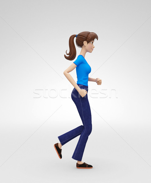 Confident, Strong and Active Jenny - 3D Character - Athlete in Active Lifestyle Stock photo © Loud-Mango