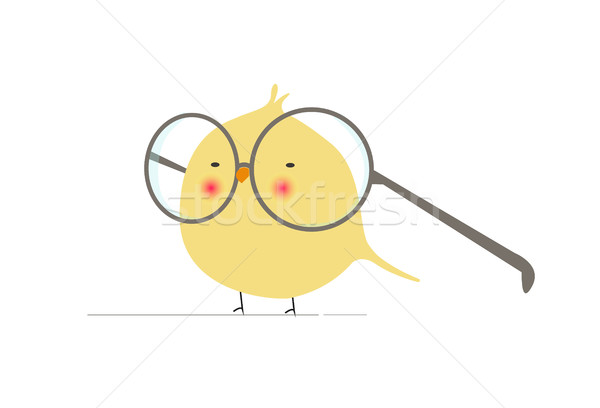 Animated Cartoon Geeky and Funny Bird Logo Icon - Character with Huge Glasses Stock photo © Loud-Mango