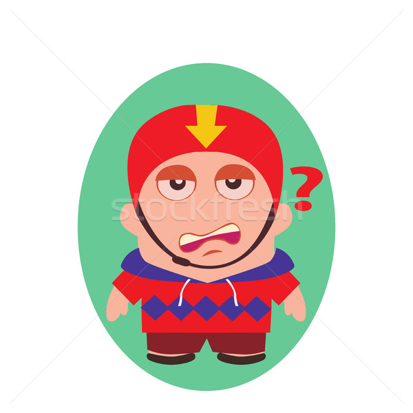 Worried, Questioning Funny Avatar of Little Person Cartoon Character in Vector Stock photo © Loud-Mango